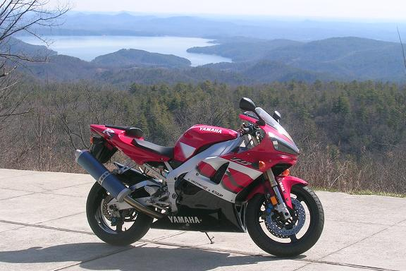 [Vicki's R1 overlooking Lake Jocassee in north-western South Carolina.]