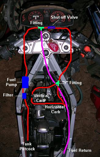 [Diagram showing the routing of the fuel line with an inline shut-off valve added.]