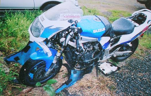 [Great White, a 1993 GSX-1100R, after the head-on collision.]