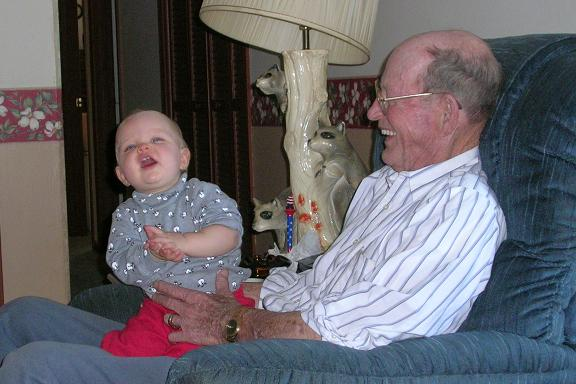 [Great-grandad Boling and I laughing because it was just a funny moment.]