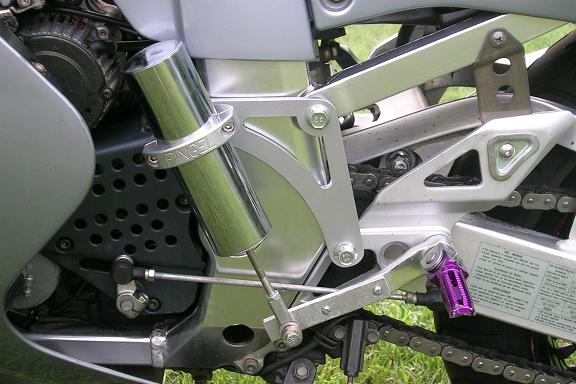 [Bracket fabricated for a Pingel electric shifter.]