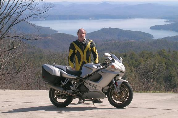 [Here I am posing with the ST2 with Lake Jocassee in the background.]