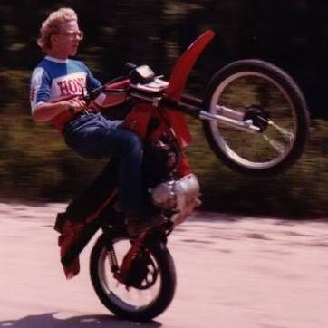 [Riding a wheelie at 14 on the '80 Honda XR200.]